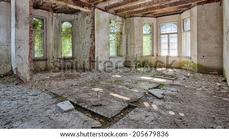 Interior of an old, abandoned building - stock photo