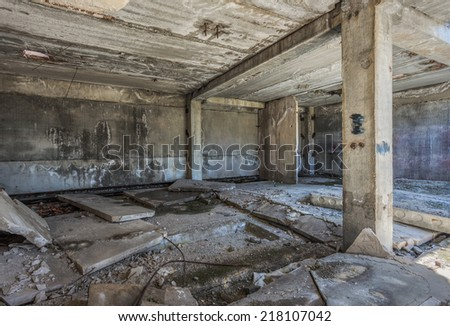 interior of an old abandoned unfinished building  - stock photo