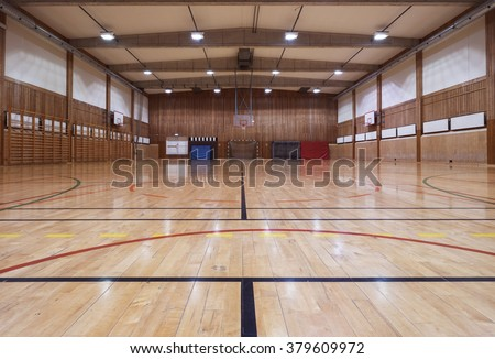 Interior of an old gymhall - stock photo
