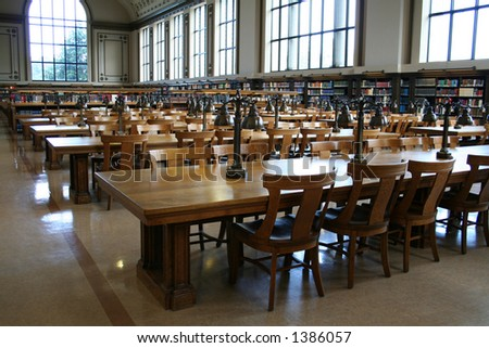 Interior of an old library - stock photo