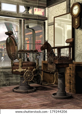 Interior of an old oriental barber's shop  - stock photo