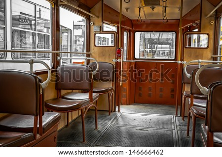 Interior of an old tram - stock photo