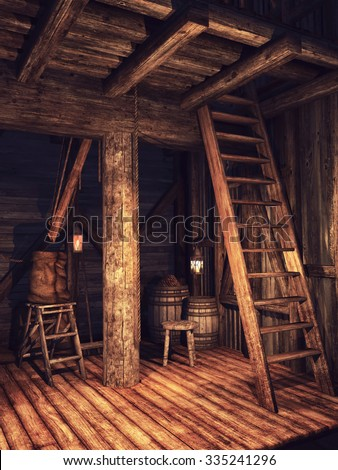 Interior of an old wooden shed with a ladder - stock photo