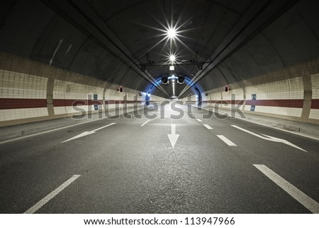 Interior of an urban tunnel - stock photo