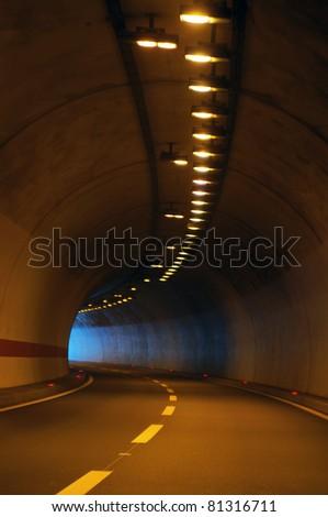 Interior of an urban tunnel - stock photo