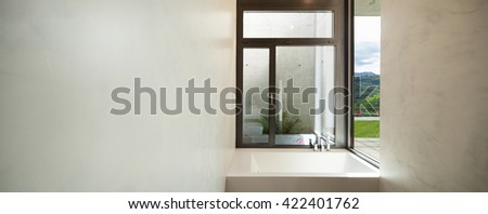 interior of apartment, modern bathroom with window
