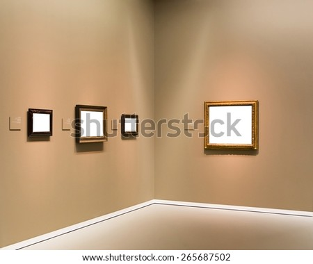 Interior of art gallery made in modern style - stock photo