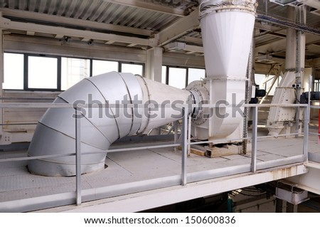 Interior of automatic line for the production of feed - stock photo