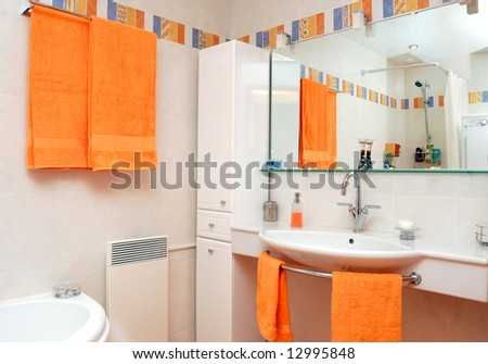 Interior of bath room in modern house - stock photo