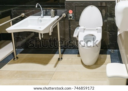 Interior Of Bathroom For The Disabled Or Elderly People. Handrail For  Disabled And Elderly People