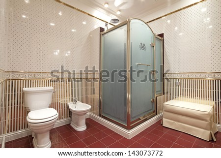 Interior of bathroom in classic style - stock photo