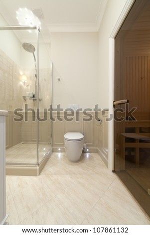 Interior of bathroom with sauna - stock photo