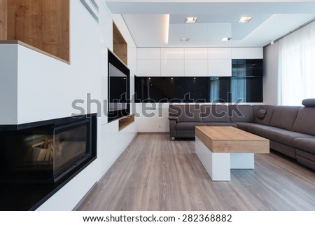 interior of beautiful modern living room - stock photo