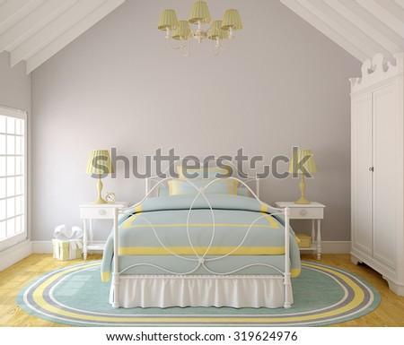 Interior of  bedroom for little girl. 3d render. - stock photo
