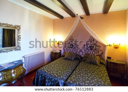 interior of bedroom with luxury furniture - stock photo