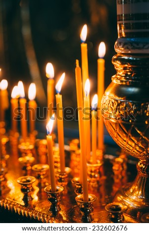 Interior Of Belarussian Orthodox Church In Easter In Minsk, Belarus. Easter Is The Most Popular Religious Holiday In Belarus. - stock photo