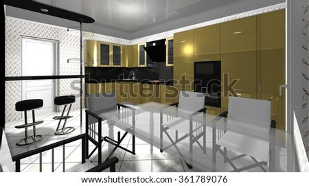 interior of big modern kitchen with Breakfast bar and dining area  3D rendering illustration