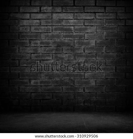 interior of black brick wall - stock photo