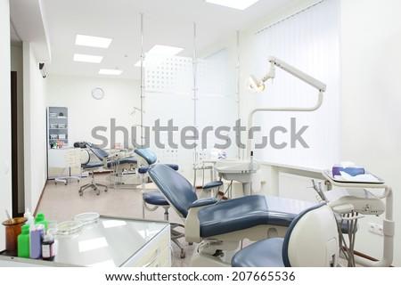 interior of bright and modern european stomatology - stock photo