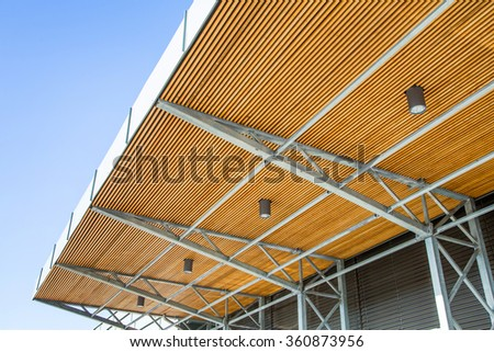 interior of building with Modern roof - stock photo