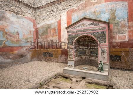Interior of Casa della Fontana Piccola, Pompeii, Italy - stock photo