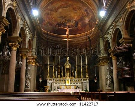 Interior of church in Turin, Piedmont, Italy
