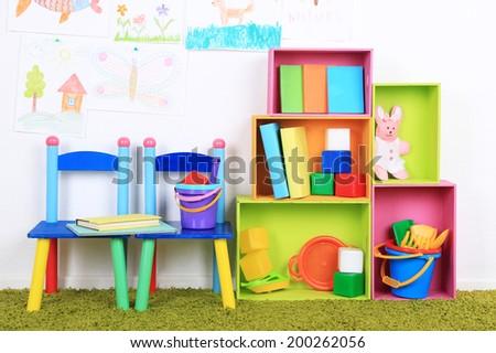 Interior of classroom at school - stock photo
