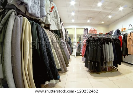 interior of clothing store - stock photo