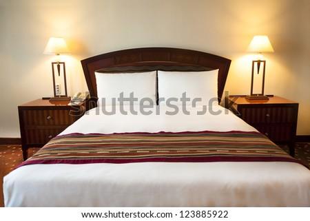 Interior of  comfortable hotel room - stock photo