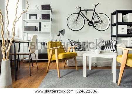 Interior of contemporary living room for hipster - stock photo