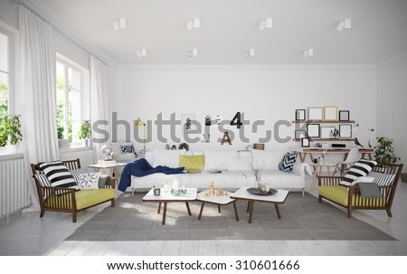 Interior of cozy vacation house (3 D render using 3 d s Max) - stock photo