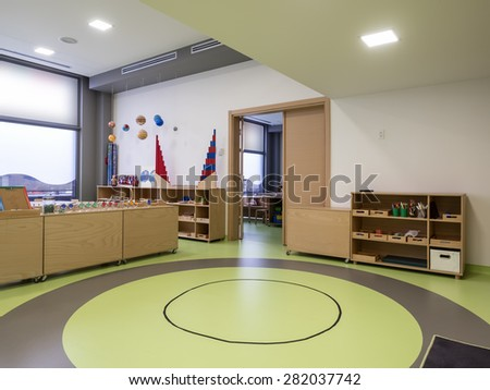 Interior of day nursery ( kindergarten) - stock photo