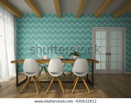 Interior of dining room with blue wallpaper 3D rendering  - stock photo