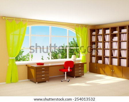 Interior of director office with big half-round window. Cartoon style - stock photo