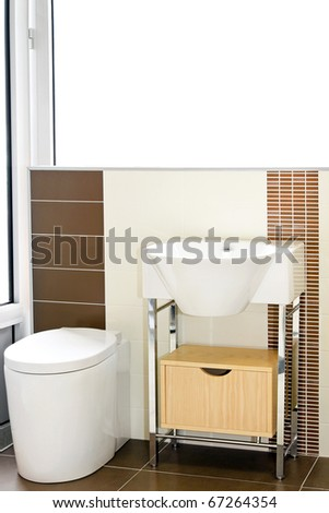 Interior of domestic bathroom with modern faucet