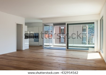 Interior of empty apartment, room with balcony, sliding door