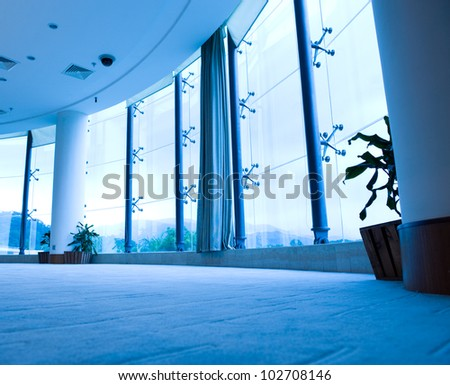 interior of empty apartment with big window - stock photo