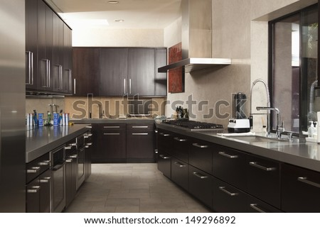 Interior of empty commercial kitchen - stock photo