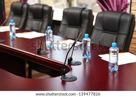 Interior of empty conference room - stock photo
