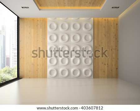 Interior of empty room with wall panel 3D rendering  - stock photo