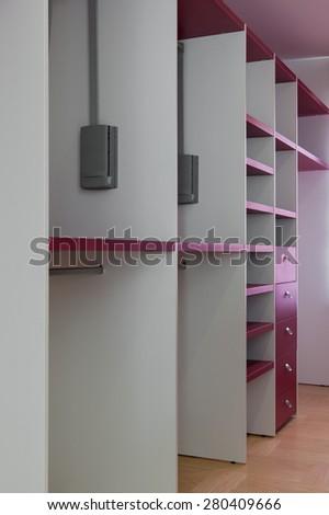 Interior of empty wardrobe room  - stock photo