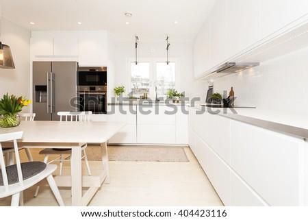 interior of fancy kitchen - stock photo
