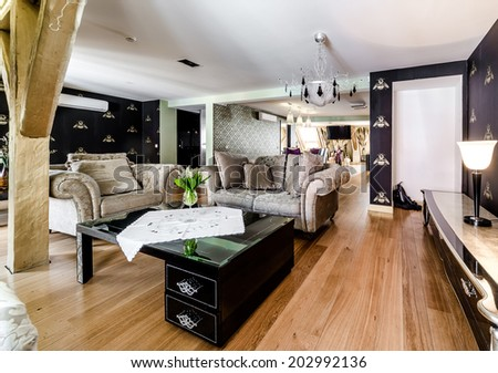 Interior of fashionable living room  - stock photo