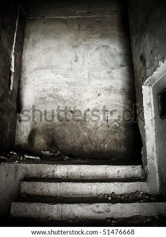 interior of grunge building - stock photo