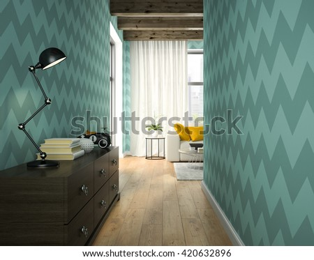 Interior of hallway with blue wallpaper 3D rendering  - stock photo