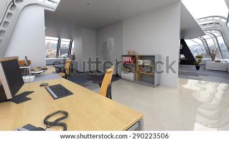 Interior of Home Office in Modern Penthouse Apartment Furnished with Contemporary Desk and Computer and Sitting Room in Background. 3d Rendering - stock photo