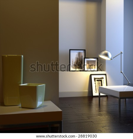 Interior of home with chrome lamp and frames (3D render) - stock photo