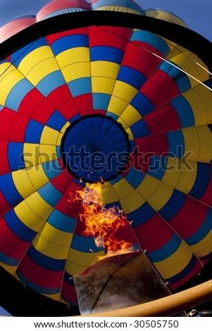 Interior of Hot Air Balloon with Flame - stock photo