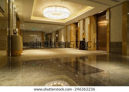 Interior of Hotel corridor - stock photo