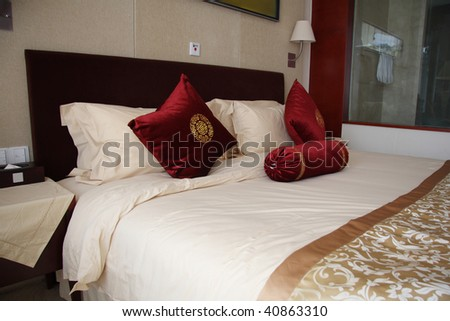 interior of hotel room or bedroom - stock photo